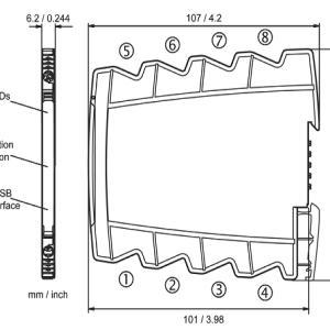 kích thước thiết kế của Bộ chuyển đổi tín hiệu nhiệt độ PT100 DT45000
