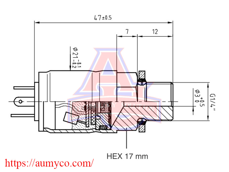 Kích thước Cảm biến áp suất keller PR-23RY
