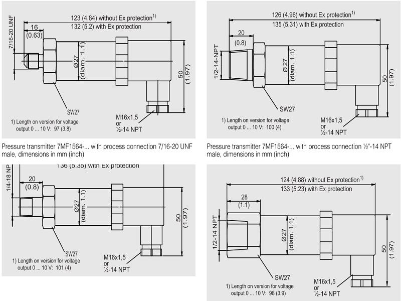 Một số kích thước cảm biến áp suất Siemens 7MF1562 và 7MF1564