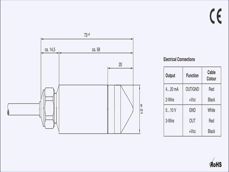 Kích thước cảm biến đo mức áp suất thủy tĩnh PR-26Y