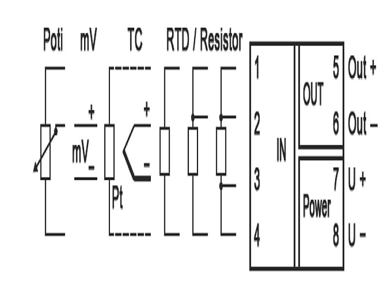 Sơ đồ đấu dây ngõ vào của bộ chuyển đổi nhiệt độ sang 4-20mA DT45000