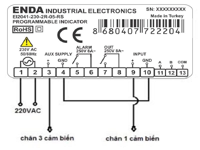 Sơ đồ đấu nối cảm biến áp suất với bộ hiển thị ENDA