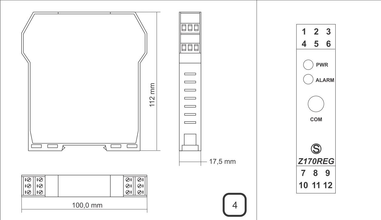 Kích thước thiết kế của bộ chia 4-20mA Z170-reg-1