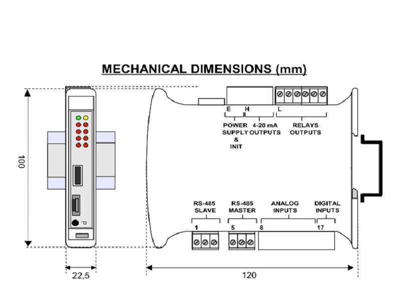 Kích thước bộ chuyển đổi 4-20mA sang Ethernet DAT9011USB-2.0 DAtexel