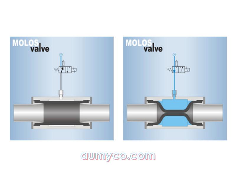 Hoạt động của van pinch van ép Mollet QV-GR