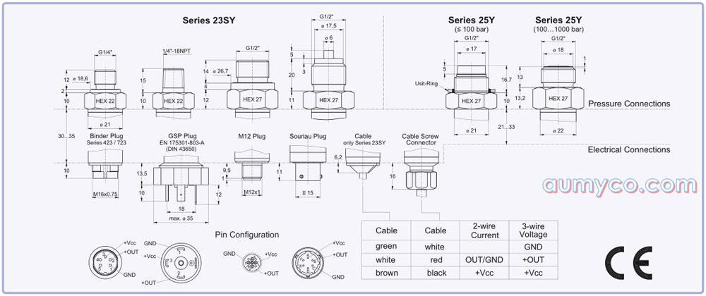 Các kết nối của cảm biến áp suất 23SY Keller