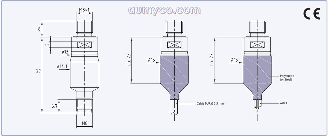 Kích thước cảm biến áp suất 21PY Keller