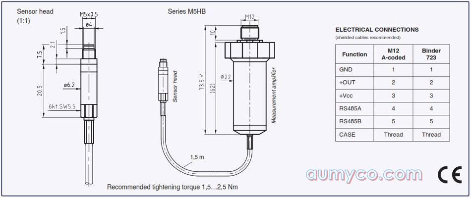 Kích thước cảm biến áp suất tốc độ cao M5HB Keller